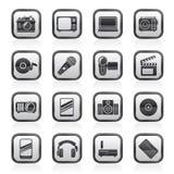 Iconos blancos y negros de los medios y de la tecnología Foto de archivo libre de regalías