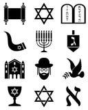 Iconos blancos y negros del judaísmo Imagen de archivo libre de regalías