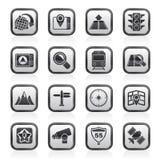 Iconos blancos y negros del mapa, de la navegación y de la ubicación Imagen de archivo