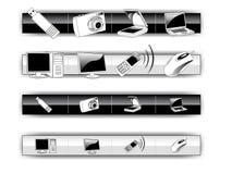 Iconos blancos y negros del ordenador ilustración del vector