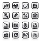 Iconos blancos y negros del uso y de la comunicación de la charla Foto de archivo