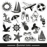 Iconos blancos y negros del verano Imagen de archivo libre de regalías