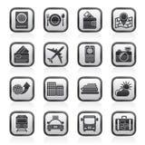 Iconos blancos y negros del viaje, del transporte y de las vacaciones Fotos de archivo libres de regalías