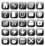 25 iconos blancos y negros del web fijados Imagen de archivo