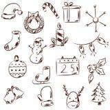 Iconos blancos y negros exhaustos de la Navidad de la mano stock de ilustración