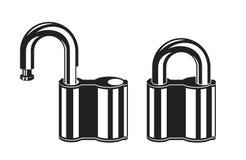 Iconos bloqueados y abiertos del candado Imagen de archivo libre de regalías