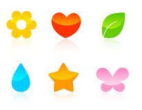 Iconos/botones del Web de la naturaleza fijados Fotos de archivo