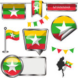 Iconos brillantes con la bandera de Myanmar Fotografía de archivo