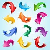 Iconos brillantes curvados coloridos aislados de la flecha 3d ilustración del vector