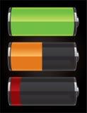 Iconos brillantes de la batería Imagen de archivo libre de regalías