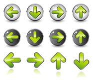 Iconos brillantes de la flecha Imágenes de archivo libres de regalías