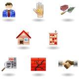 Iconos brillantes de las propiedades inmobiliarias stock de ilustración