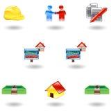 Iconos brillantes de las propiedades inmobiliarias ilustración del vector