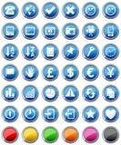 Iconos brillantes de los botones fijados [2] Imagen de archivo