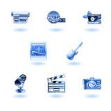 Iconos brillantes de los media ilustración del vector