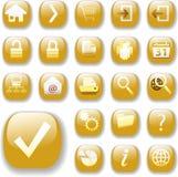 Iconos brillantes del botón del oro del Web Imágenes de archivo libres de regalías