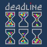 Iconos brillantes del color del negocio de la gestión de tiempo del reloj de arena fijados Deadl Imagen de archivo libre de regalías