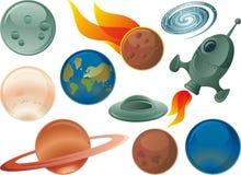 Iconos brillantes del espacio Imagen de archivo libre de regalías