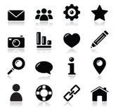 Iconos brillantes del negro de la navegación del menú del Web site - caseros, Fotos de archivo