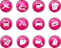 Iconos brillantes del recorrido del color de rosa caliente Imagen de archivo