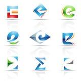 Iconos brillantes para la letra E Fotos de archivo