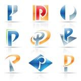 Iconos brillantes para la letra P Fotografía de archivo