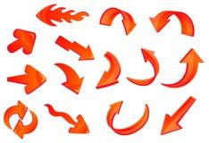 Iconos brillantes rojos de las flechas fijados Imagen de archivo libre de regalías