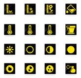 Iconos cada vez mayor de la silueta de la muestra de la planta Fotografía de archivo