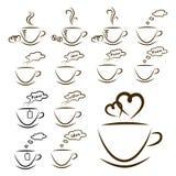 Iconos café y juego de té del web ilustración del vector