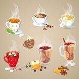 Iconos calientes de las bebidas fijados Foto de archivo