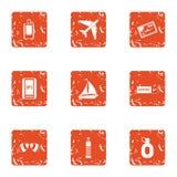 Iconos calientes fijados, estilo del borde del grunge ilustración del vector