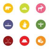 Iconos canadienses fijados, estilo plano del borde libre illustration