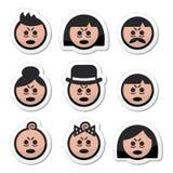 Iconos cansados o enfermos de las caras de la gente fijados Imagen de archivo libre de regalías