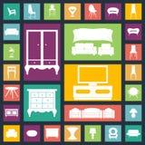 Iconos caseros de los muebles fijados Contiene el equipo Imagen de archivo libre de regalías