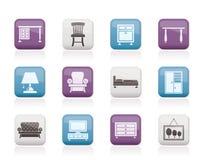 Iconos caseros del equipo y de los muebles Imágenes de archivo libres de regalías