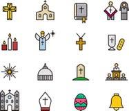 Iconos católicos de la religión Foto de archivo