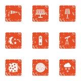Iconos celestiales fijados, estilo del grunge stock de ilustración