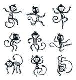 Iconos chinos de la decoración del vector del mono del Año Nuevo stock de ilustración