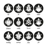 Iconos chinos de las muestras del zodiaco fijados Ratón del toro del buey del tigre del perro de mono del caballo del conejo del  stock de ilustración
