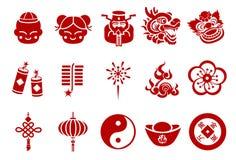 Iconos chinos del Año Nuevo - ejemplo ilustración del vector