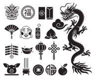 Iconos chinos del Año Nuevo fijados Llustrations del vector