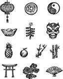 Iconos chinos del bosquejo Fotos de archivo libres de regalías
