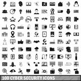 100 iconos cibernéticos fijados, estilo simple de la seguridad stock de ilustración