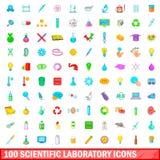 100 iconos científicos fijados, estilo del laboratorio de la historieta Fotos de archivo libres de regalías