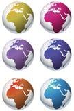 Iconos clasificados del globo Fotos de archivo