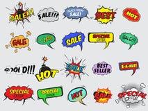 Iconos cómicos de la explosión de la venta Imágenes de archivo libres de regalías