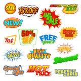 Iconos cómicos del descuento de la venta del arte pop Foto de archivo libre de regalías