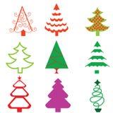 Iconos cobardes estilizados del árbol de navidad Imagen de archivo libre de regalías