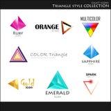 Iconos. Colección del estilo del triángulo Imagenes de archivo