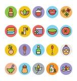 Iconos coloreados BALNEARIO 2 del vector Foto de archivo
